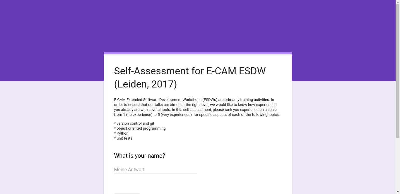 Thumbnail of ESDW6: Self-assessment Form